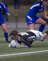 Boston College goalkeeper Jillian Mastroianni (30) dives on ball. Boston College defeated Hofstra University, 3-1, in second round NCAA tournament match at Newton Soccer Field, Newton, MA.