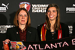 15 January 2010: Tobin Heath was selected with the #1 overall pick by the Atlanta Beat. With Tonya Antonucci (left). The 2010 WPS Draft was held at Pennsylvania Convention Center in Philadelphia, PA during the NSCAA Annual Convention.