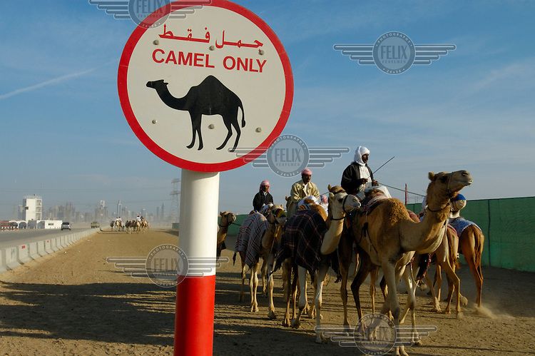 Sign reading 'Camels Only' at the entrance to a race track and training ground for camel racing.