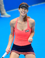 Tsvetana Pironkova of Bulgaria reacts after defeating Sara Errani of Italy during their women's singles match at the Sydney International tennis tournament in Sydney, Australia, Wednesday, Jan. 8, 2014.  IMAGE RESTRICTED TO EDITORIAL USE ONLY. Photo by Daniel Munoz/VIEWpress