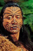 Maori man in kiwi cloak with facial tatoos, Rotorua, New Zealand (M.R.)