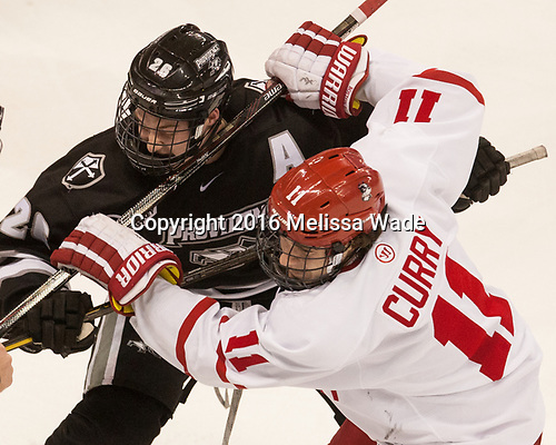 Brian Pinho (PC - 26), Patrick Curry (BU - 11) - The Boston University Terriers tied the visiting Providence College Friars 2-2 on Saturday, December 3, 2016, at Agganis Arena in Boston, Massachusetts.