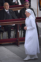 Sister Marie Simon Pierre ,Napolitano italian presidentPope Francis during the canonisation mass of Popes John XXIII and John Paul II on St Peter's at the Vatican on April 27, 2014.