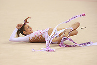 August 23, 2008; Beijing, China; Rhythmic gymnast Almudena Cid of Cid finishes with ribbon on way to placing 8th in the All-Around final at 2008 Beijing Olympics. Almudena's 4th Olympics!.(©) Copyright 2008 Tom Theobald