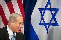 (L to R) Prime Minister of Israel Benjamin Netanyahu speaks to United States President Barack Obama meet during a bilateral meeting at the Lotte New York Palace Hotel, September 21, 2016 in New York City. Last week, Israel and the United States agreed to a $38 billion, 10-year aid package for Israel. Obama is expected to discuss the need for a &quot;two-state solution&quot; for the Israeli-Palestinian conflict. <br /> Credit: Drew Angerer / Pool via CNP /MediaPunch