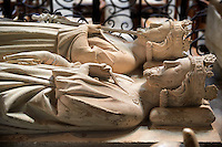 Tomb of  (front) Henry 1st (1008 - 1060) King of France from 1031 to 1060, and Louis VI le Gros (1080- - 1137) King of France 1108 to 1137. The Gothic Cathedral Basilica of Saint Denis ( Basilique Saint-Denis ) Paris, France.