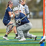 25 April 2015: University of New Hampshire Wildcat Goalkeeper Kate Clancy, a Freshman from Barrington, RI, in action against the University of Vermont Catamounts at Virtue Field in Burlington, Vermont. The Lady Catamounts defeated the Lady Wildcats 12-10 in the final game of the season, advancing to the America East playoffs. Mandatory Credit: Ed Wolfstein Photo *** RAW (NEF) Image File Available ***