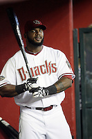 27 June 2011:  #16 Willy Mo Pena in the dugout during a Major League Baseball game MLB Cleveland Indians defeated the Arizona Diamondbacks 5-4 inside Chase Field in Phoenix, AZ.  **Editorial Use Only**
