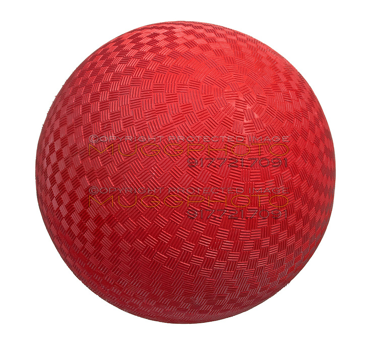 red kickball photographed on a white background.