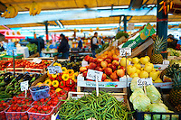 Fruit and vegetables on the market stall of the Rialto market - Venice Italy