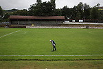 Vale of Leven 3 Ashfield 4, 03/09/2016. Millburn Park, West of Scotland League Central District Second Division. One of the backroom staff, Angus Wallace, a repairing the pitch at Millburn Park, Alexandria, after Vale of Leven hosted Ashfield in a West of Scotland League Central District Second Division Junior fixture. Vale of Leven were one of the founder members of the Scottish League in 1890 and remained part of the SFA and League structure until 1929 when the original club folded, only to be resurrected as a member of the Scottish Junior Football Association after World War II. They lost the match to Ashfield by 4-3, having led 3-1 with 10 minutes remaining. Photo by Colin McPherson.