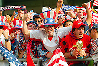 Fans celbrate the USA's 2-0 win over Mexico in the second round in Jeonju, Soth Korea, Monday June 17, 2002. Images provided in partnership with International Sports Images. (Please credit: John Todd/Int'l Sports Images/DSA)