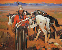 Apache Land, painting, c. 1931, oil on canvas, by Laverne Nelson Black, 1887-1938, American artist, from the collection of Denver Art Museum, Denver, Colorado, USA. The Apache indian is holding a gun and standing beside 2 horses in a landscape. Picture by Manuel Cohen