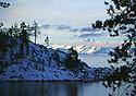 Lake Tahoe Winter Shoreline Mountain Landscape