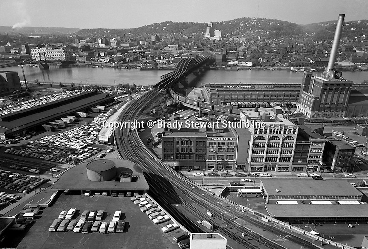 Pittsburgh PA - View of the PA Railroad Bridge over the Allegheny River from the roof of Penn Station- 1959. The bridge was built between 1901 and 1904 by American Bridge Company on new piers immediately next to the 1868 bridge it was going to replace.