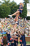2 September 2006: Syracuse cheerleaders execute a dismount from a lift. Wake Forest defeated Syracuse 20-10 at Groves Stadium in Winston-Salem, North Carolina in an NCAA college football game.