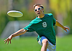 5 May 2013: The Vermont Commons School Flying Turtles play the Montpelier High School Solons in the Champlainships Ultimate Disk Tournament at the Tree Farm Recreational Facility in Essex Junction, Vermont. The Turtles fell to the Solons as the Montpelier team advanced to the Championship game. Mandatory Credit: Ed Wolfstein Photo