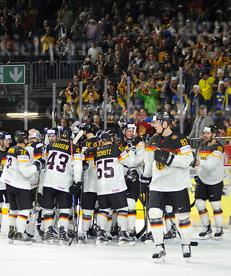 Friday, 5 May, 2017,Lanxess Arena , Cologne/GER<br /> IIHF World Hockey Championship 2017<br /> USA  vs  GER<br /> After a thrilling match Germany wins 2:1,happy team celebration