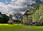 High-dynamic Range Image made on a bright day at Quirigua Archaeological Park in Guatemala.  Quirigua is one of the smaller Mayan sites, but also one of the most notable due to the artistry of its stelae, which Mayan rulers during the Classic Period commissioned to commemorate important political and dynastic events. Nowadays, the temples and palaces lie in ruins around the pleasant green park that once was the great plaza of Quirigua and archaeologists are only now piecing them back together.  Quirigua features a total of 22 carved stelae and zoomorphs (large boulders carved to represent animals and covered with figures and glyphs), which are among the finest examples of classic Mayan stone carvings.