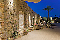 Desert landscaping is seen at night