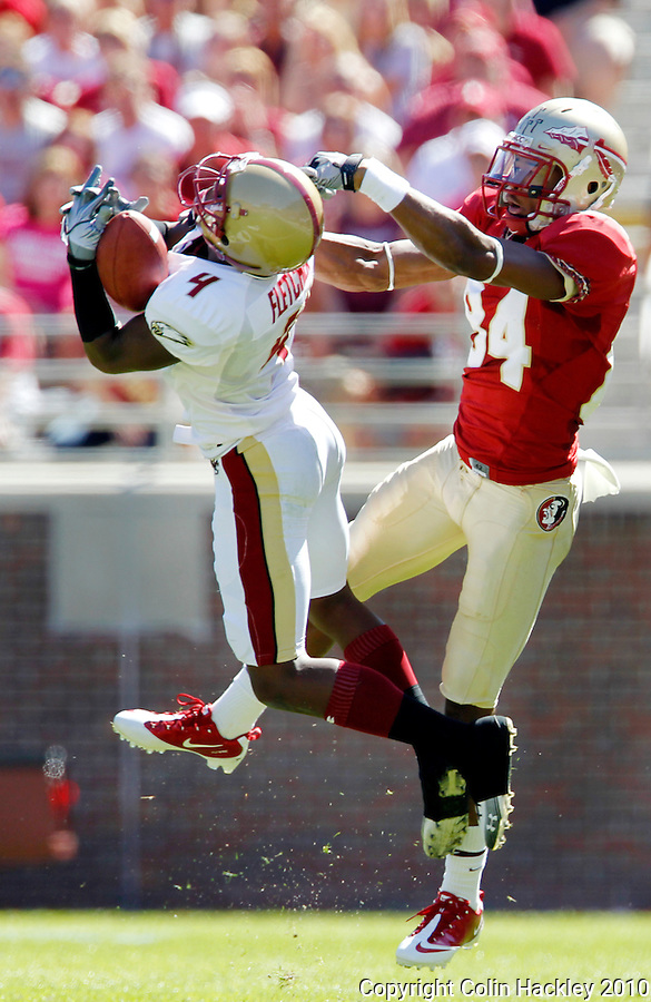 TALLAHASSEE, FL 10-FSU-BC FB10 CH-Florida State's Rodney Smith has a pass intended for him intercepted by Boston College's Donnie Fletcher during first half action Saturday at Doak Campbell Stadium in Tallahassee. .COLIN HACKLEY PHOTO