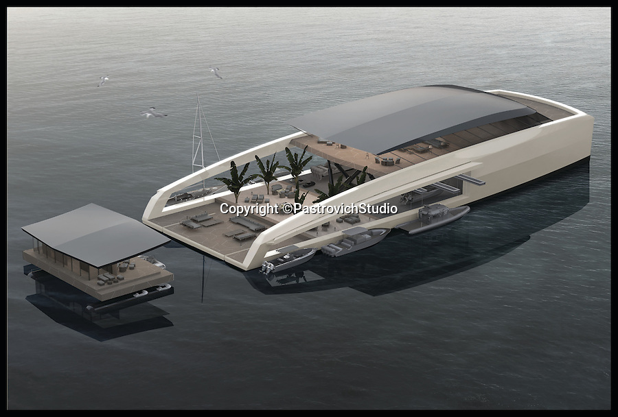 BNPS.co.uk (01202 558833)<br /> Pic: PastrovichStudio/BNPS<br /> <br /> ***Please Use Full Byline***<br /> <br /> An example of the Mother ship and one of the detachable pods. <br /> <br /> The world's most luxurious superyacht which features its own detachable floating swimming pool and guest apartments has been unveiled - and it's guaranteed to make a splash among the world's super-wealthy.<br /> <br /> The mammoth 250ft vessel has been designed to act as a 'mother ship' for a series of luxury modules that can be turned into whatever its billionaire owner desires including a pool, a garden or accommodation.<br /> <br /> Once the boat is at anchor in its luxurious location the modules can be deployed and used as tiny floating boltholes.<br /> <br /> It also has its own inflatable walk-ashore pontoon so guests can walk straight from the boat onto the beach.<br /> <br /> And a cutting edge giro system would keep living quarters level at all time no matter how rough the seas are.<br /> <br /> Despite its enormous size, owners could sail the state-of-the-art carbon-fibre boat right in close to beaches because of its shallow hull design.<br /> <br /> The yacht, called the 77m X R-Evolution, is still a concept although its designers envisage it would costs hundreds of millions of pounds to buy. <br /> <br /> The plush creation is the brainchild of Monaco luxury yacht designers Pastrovich Studio.