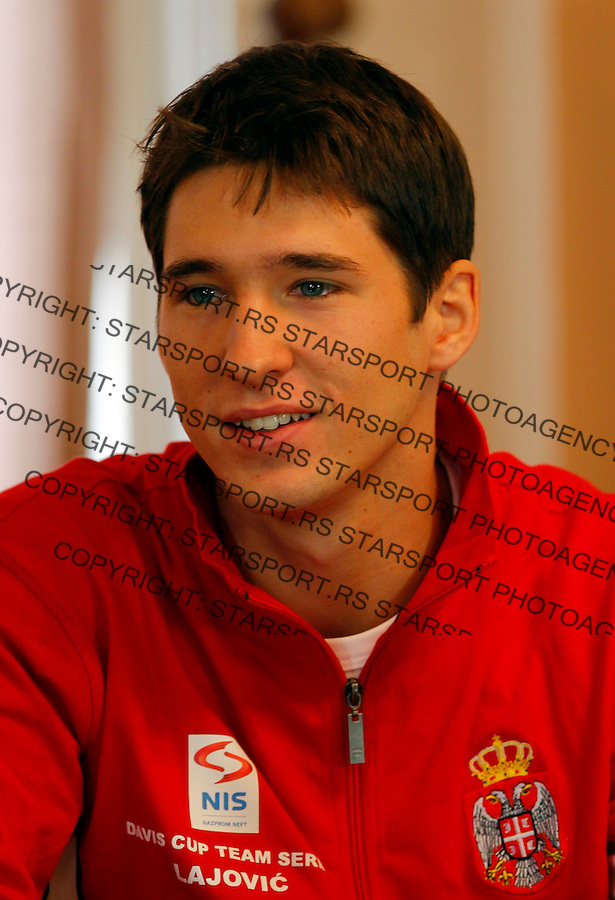 Davis Cup, World Group, 1st Round, Srbia - Sweden, Draw, Nis, Serbia, Thursday, February 9, 2011.  Dusan Lajovic of Serbia  (photo: Pedja Milosavljevic / thepedja@gmail.com / +381641260959)