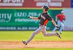 9 March 2013: Miami Marlins infielder Danny Black hustles to second during a Spring Training game against the Washington Nationals at Space Coast Stadium in Viera, Florida. The Nationals edged out the Marlins 8-7 in Grapefruit League play. Mandatory Credit: Ed Wolfstein Photo *** RAW (NEF) Image File Available ***