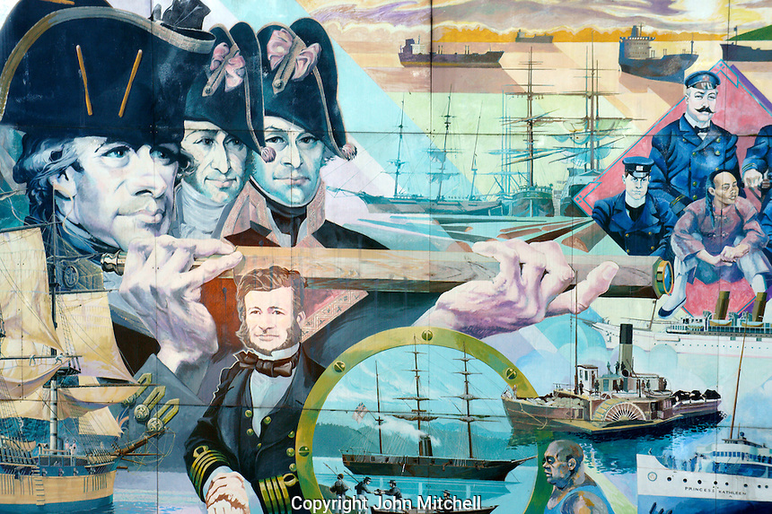 Mural depicting the maritime history of Vancouver, Maritime Museum, Vancouver, British Columbia, Canada
