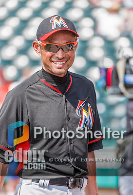19 March 2015: Miami Marlins outfielder Ichiro Suzuki smiles prior to a Spring Training game against the Atlanta Braves at Champion Stadium in the ESPN Wide World of Sports Complex in Kissimmee, Florida. The Braves defeated the Marlins 6-3 in Grapefruit League play. Mandatory Credit: Ed Wolfstein Photo *** RAW (NEF) Image File Available ***