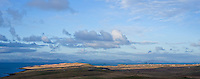 Panoramic view over Kilmuir region towards outer Hebrides, Isle of Skye, Scotland