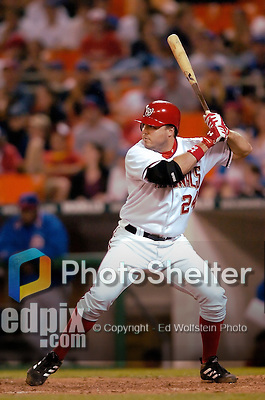 14 May 2005: Nick Johnson, first baseman for the Washington Nationals, at bat against the Chicago Cubs, as the Nationals defeated the visiting Cubs 4-3 to even the 3-game series at RFK Stadium in Washington, DC.  Mandatory Photo Credit: Ed Wolfstein