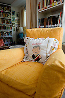 A chair at the Renowned Mexican author Elena Poniatowska's house.  The pillow is of two time presidential candidate Andres Manuel Lopez Obrador. Chimalistac, Mexico City