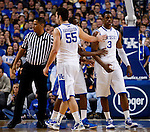 Josh Harrellson pats Terrence Jones on the chest after an altercation with an Auburn player in the first half of UK's win over the Auburn Tigers at Rupp Arena on Jan. 11, 2011. Photo by Britney McIntosh | Staff