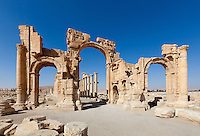 Monumental Arch, Palmyra, Syria. Ancient city in the desert that fell into disuse after the 16th century.