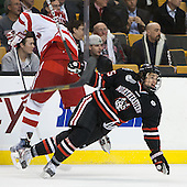 Ryan Ruikka (BU - 2), Kevin Roy (NU - 15) - The Northeastern University Huskies defeated the Boston University Terriers 3-2 in the opening round of the 2013 Beanpot tournament on Monday, February 4, 2013, at TD Garden in Boston, Massachusetts.