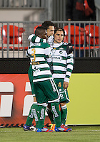 28 March 2012: Club Santos Laguna Herculez Gomez #16 celebrates his goal during a CONCACAF Champions League game between the Club Santos Laguna and Toronto FC at BMO Field in Toronto...