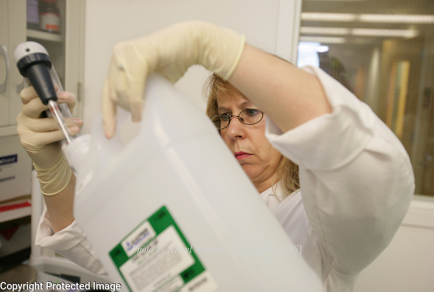 Sharon McLaughlin works at Fred Hutchinson Research Center in Seattle, Washington on November 9, 2006.