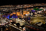Aerial night view of Las Vegas Strip, Nevada, NV, Las Vegas Strip, city at night, nightscape, aerial, Photo nv252-18023.Copyright: Lee Foster, www.fostertravel.com, 510-549-2202,lee@fostertravel.com