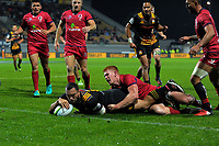 Charlie Ngatai scores during the Super Rugby match between the Chiefs and Reds at Yarrow Stadium in New Plymouth, New Zealand on Saturday, 6 May 2017. Photo: Dave Lintott / lintottphoto.co.nz