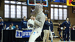 11 February 2017: UNC's Matthew Garrelick reacts during Saber. The Duke University Blue Devils hosted the University of North Carolina Tar Heels at Card Gym in Durham, North Carolina in a 2017 College Men's Fencing match. Duke won the dual match 19-8 overall, 6-3 Foil, 6-3 Epee, and 7-2 Saber.
