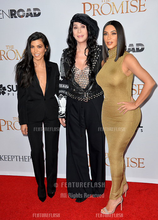 Kourtney Kardashian &amp; Kim Kardashian &amp; Cher at the premiere for &quot;The Promise&quot; at the TCL Chinese Theatre, Hollywood. Los Angeles, USA 12 April  2017<br /> Picture: Paul Smith/Featureflash/SilverHub 0208 004 5359 sales@silverhubmedia.com