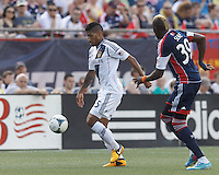 LA Galaxy defender Sean Franklin (5) controls the ball. In a Major League Soccer (MLS) match, the New England Revolution (blue) defeated LA Galaxy (white), 5-0, at Gillette Stadium on June 2, 2013.