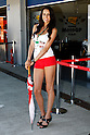 May 1, 2010 - Jerez, Spain  -  A grid girl poses in the paddock prior the Spanish Grand Prix at the Jerez racetrack on May 1, 2010 in Jerez de la Frontera. (Photo Andrew Northcott/Nippon News)