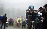 Dwars Door Vlaanderen 2013.Mathew Hayman (AUS) leading up the Paterberg