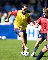 Landon Donovan stops the ball during training in Hamburg, Germany, for the 2006 World Cup, June, 6, 2006.