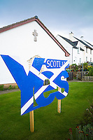 Scottish Referendum Independence Debate campaign poster as Saltire flag urging voters to give a YES vote for a separate nation for Scotland