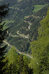 Mountain road in the alpine forests, Imst district, Tyrol,Tirol, Austria.