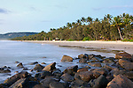 View along Four Mile Beach at dawn.  Port Douglas, Queensland, Australia