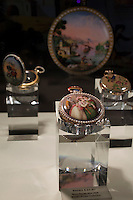 Moscow, Russia, 25/10/2009..A private collection of 19th century watches at the Millionaire Fair in Moscow. The event has become an annual fixture, attracting thousands of would-be and existing Russian millionaires to view and purchase a wide range of luxury goods. This year however the fair was much smaller, an indication of how the formerly booming Russian economy has been hit by the world financial crisis.